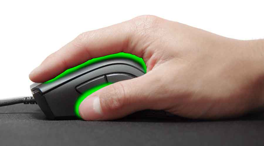 Picture of a palm grip, one of the 4 mouse grip styles.