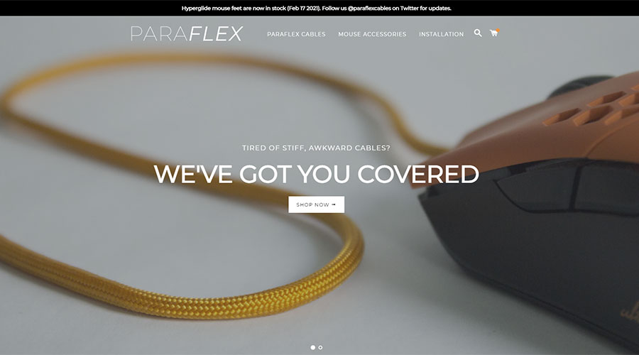 A picture of Paraflex cables which sells paracord mouse cables.